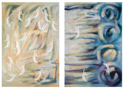 Voladores Óleo sobre superficie rígida Díptico, 122 x 84 cm. cada pánel.