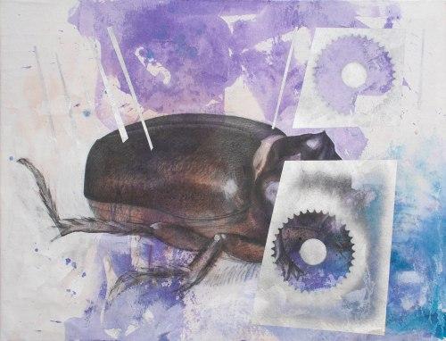 Escarabajo I Carboncillo, grafito, acrílico y aerosol sobre pellón  93 x 122 cm. 2015